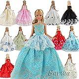 「Barwawa」ランダム5枚セット バービー 服 ドレス 手作り ドール用 人形用 アクセサリー 1/6ドール用  プリンセスドレス