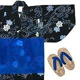 (キョウエツ) KYOETSU ボーイズ変わり織り浴衣 3点セット bh もみじ柄 黒 グレー 紺 (100cm, E-黒)
