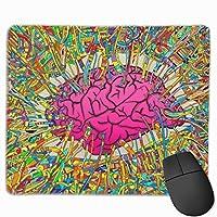 カラフルなラインと芸術的な脳 マウスパッド ノンスリップ 防水 高級感 習慣 パターン印刷 ゲーミング ホビー 事務 おしゃれ 学習