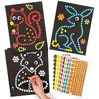 森の動物たち?ドットシール アート(8シート)心のこもった素敵な手作りカードや子供達の工作に