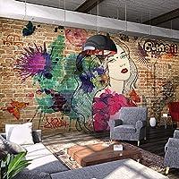 Yosot レトロなレンガ造りの、落書きの女の子 3d の壁紙の壁画、レストラン、バー、カフェ、衣料品店、背景の壁紙-250cmx175cm