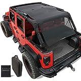 Shadeidea Jeep Wrangler Sun Shade JKU4D-FBL Unlimited - Mesh Top Cover Black