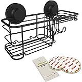 Gecko-Loc Bath Shower Caddy Organizer - Suction Cup Bathroom Storage Basket (Black, Combo)