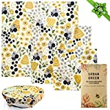 Reusable BeesWax Wraps and Silicone Stretch Lids by Urban Green, Beeswax Food Wrap, Bees Wax Wrap, Reusable Silicone Food Cover, Microwave Plate Cover, Food Storage and Cover, Plastic Wrap Alternative