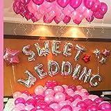 SWEET WEDDING 超巨大 ウェディング バルーン セット 結婚式 二次会 飾り付け パーティーのデコレーション 風船 装飾セット (ピンク+シルバー)