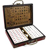 IRONWALLS Chinese Mahjong Mah Jongg Game Set with 144 Mini Tiles Dot Dice Leather Box Extra White Tiles for Travel Family Gam