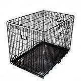 プチリュバン スリードア 折りたたみ式 ペットケージ XLサイズ ブラック トレイ付 スチール製 犬用