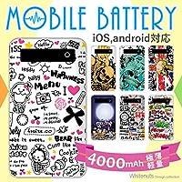 ホワイトナッツ プリントバッテリー 4000mAh パターンA(wn-540) モバイルバッテリー 極薄 軽量 アニメーションアート