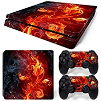 Sony PS4 Playstation 4 Slim Skin Design Foils Faceplate Set - Fire Flower Design