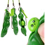 iMagitek 3 Pcs Fidget Toy Set, Squeeze-a-Bean Soybean Stress Relieving Playful Charms Extrusion Edamame Pea Keychain for Mobi