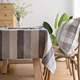 LINENLUX Stylish Square Rectangular Tablecloth/Table Cover for Kitchen Dinning Tabletop Decoration Gray Striped Square/Round