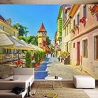 Wuyyii カスタム3D写真の壁紙印刷ヨーロッパ街ストリートビュー大壁画壁画3Dリビングルームの壁紙家の装飾-200X140Cm