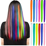 12 Pcs Colored Party Highlights Colorful Clip in Hair Extensions 22 inch Straight Synthetic Hairpieces for Women Kids Girls,
