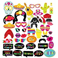 Homdar Direct 42 Pcs Wedding Photo Booth Props Kit Halloween Birthday Party Accessory for Atmospheric and Funny (Mexicana) [並行輸入品]