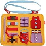 wentgo Toddler Busy Board Montessori Basic Skills Activity Board for Fine Motor Skills and Learn to Dress Educational Learnin