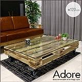 ヴィンテージ風 センターテーブル 120 Adore アドア ガラス テーブル キャスター キャスター付き アンティーク レトロ 北欧 ロータイプ 低め リビングテーブル 木製 天然木 桐 パレット ローテーブル おしゃれの画像