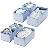 mDesign Soft Fabric Dresser Drawer and Closet Storage Organizer for Kids/Toddler Room, Nursery, Playroom, Bedroom - Herringbo