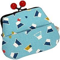 4ポケット 和柄がま口財布 富士山と千鳥 水色