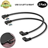USB C 90 Degree Right Angle Cable Extension USB 3.0 Type c Cable Left & Right Angle Male by Oxsubor(2 Pack)