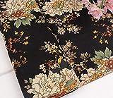 民族柄 綿 麻 布 生地 手芸 衣類用 幅145cm 長さ200cm カラー 花柄 刺繍 中華風 コットンリネン ハンドメイド (牡丹・黒地)