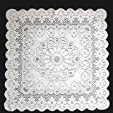 yazi-おしゃれ 花柄 レース テーブルクロス ソファカバー 家具防塵カバー マルチカバー 梅の花 ホワイト 正方形 80cmx80cm