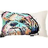 oFloral Colorful Art Cartoon Dog Waist Throw Cushion Cover Cotton Linen Pillow Case Home Sofa Decor Pillow Case Cushion 12 x
