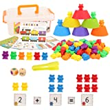 Barwa Colorful Counting Bears Set - Montessori Rainbow Bears Mathing Game with Stacking Cups Number Color Recognition, Educat