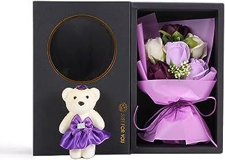 MINENA ソープフラワー 石鹸 花 バラ 花束 可愛い熊付き 香り付き ギフト プレゼント 父の日 誕生日 女性