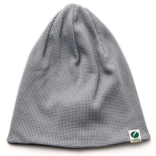 Nakota (ナコタ) エクストラワッフル オーガニック コットン ワッチキャップ ニットキャップ 帽子 ニット帽 (Mサイズ, グレー×ブラック)