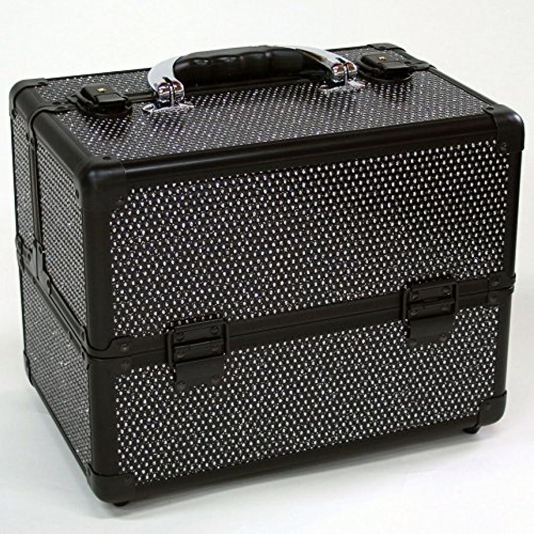 休憩する性能シリンダーメイクボックス|D2671K-2|軽量タイプ|コスメボックス 化粧箱 メイクアップボックス|Make box MAKE UP BOX (ブラック)