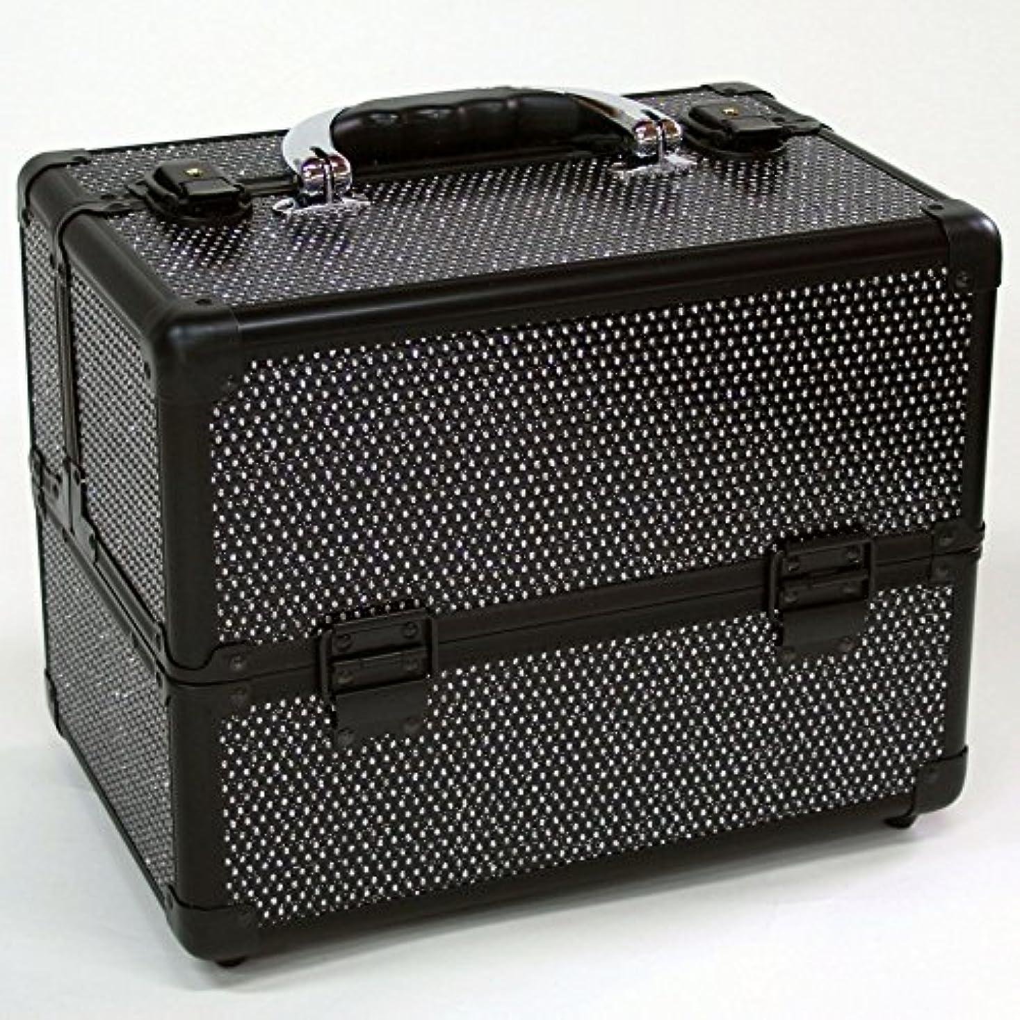 の前でブランチ不適当メイクボックス|D2671K-2|軽量タイプ|コスメボックス 化粧箱 メイクアップボックス|Make box MAKE UP BOX (ブラック)
