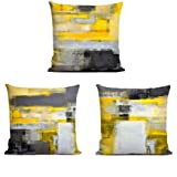 Decor MI [Just Pillowcase Modern Grey and Yellow Throw Pillow Covers Abstract Pillowcase Linen Cushion Cover Pillow Cases wit