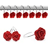 FINROS 12 PCS Home Fashion Decorative Anti Rust Shower Curtain Hooks Rose Design Shower Curtain Rings Hooks (RED)