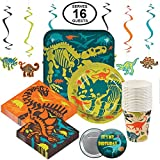 Dinosaur Dino Birthday Party Supplies Disposable Tableware Set for 16 Large Party Pack Includes Dinner Plates, Dessert Plates, Large and Small Napkins, Cups and Hanging Swirls