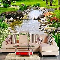 Xbwy 3D壁の壁画壁紙公園川自然風景写真の壁紙リビングルームテレビソファ背景壁フレスコ画居心地の良い3D家の装飾-280X200Cm