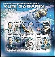 ガガーリンの宇宙飛行50年切手 モザンビーク2011年6種連刷シート(使用済) 宇宙、ボストーク