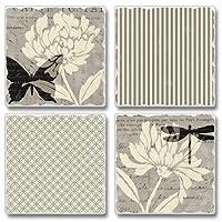 自然Prints Butterflies Square Assorted Tumbledストーンコースターセットの4、Highland Graphics