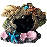 Miracliy Resin Broken Barrel Aquarium Decorations for Fish Tank, Aquarium Ornament Aquatic Caves Hide Hut