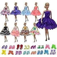 ZITA ELEMENT バービー用 きせかえ  5セット夏のドレス+バービードール用の5足靴 1/6サイズ(約30cm)ドール適用 ショート パーティードレス コスチューム