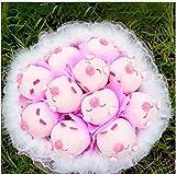 ブタちゃん 11匹 お祝い アニマル ブーケ ぬいぐるみ お祝い 結婚式 出産祝い 結婚 記念日 ギフト プレゼント(ピンク)