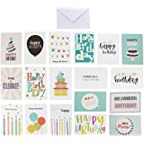 144-Pack Happy Birthday Cards - Includes 18 Colorful Designs with Party Hats, Balloons, Gift Boxes, Birthday Cake and Stars,