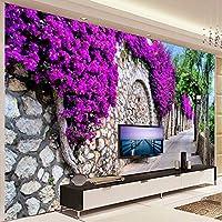 Xbwy 写真の壁紙3Dステレオパープルの花レンガの壁小街路壁画リビングルームカフェダイニングルームロマンチックインテリア家の装飾-120X100Cm