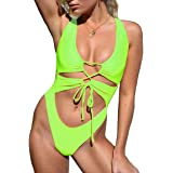 geluboao Womens Wide Straps Sexy Lace Up Drawstring Backless Cheeky Monokini High Cut One Piece Swimsuit
