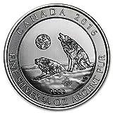 2016年 カナダ ウルフ オオカミ 2ドル 3/4オンス 銀貨 シルバー コイン 23.325グラム純銀 高級アクリルカプセル・クリアーケース付き (¥ 3,299)