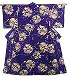 アンティーク 着物  秋草の花くす玉模様 正絹 袷 裄61.5cm 身丈149cm