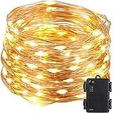 Kohree String Light LED Fair Copper Wire Light Waterproof Battery Box 40 Feet 120 LEDs Long Ultra Thin String Copper Wire, Decor Rope Light with Timer Perfect for Weddings, Party, Bedroom, Xmas