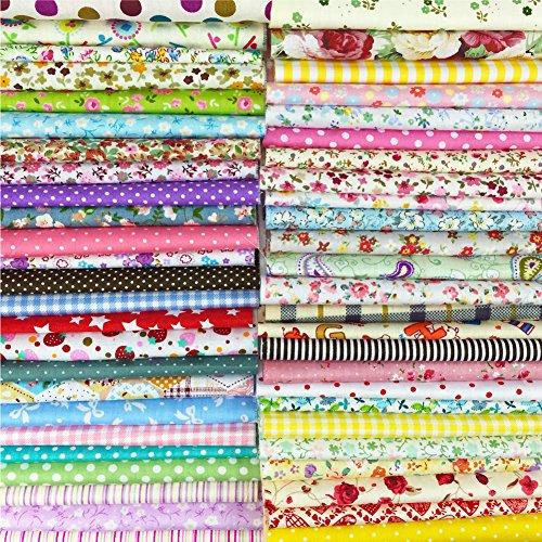 綿プリント生地 四角形シリーズ 50枚セット DIY縫う手作りの布地 8×8インチ 20×20㎝