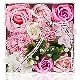 ハロウィン 敬老の日 ソープフラワー 創意方形ギフトボックス 誕生日 母の日 記念日 先生の日 バレンタインデー 昇進 転居など最適としてのプレゼント (ピンク-1)