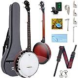 Kmise 5 String Resonator Banjo Professional Sapele Back Banjos Starter Kit With Bag Tuner Strap Strings Pickup Picks Ruler Wr