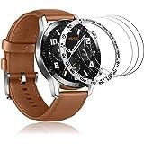 Huawei Watch GT 2 46mm ベゼルリング+ガラスフィルム 保護ベゼルカバー アンチリング 傷防止 耐指紋 液晶保護フィルム 9H硬度(小字,シルバー)